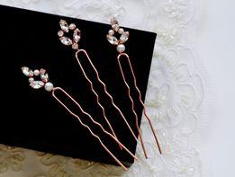 Kokówka ślubna Rose Gold, ozdoba do włosów, wpinka ślubna, perły