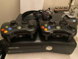 XBox 360, 2 controllers and a headphone/mic set