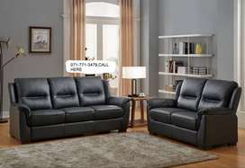 3+2 seaters black ,brown real leather sofas on Specials