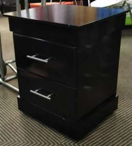 Set of 2 new black wooden side tables with drawers
