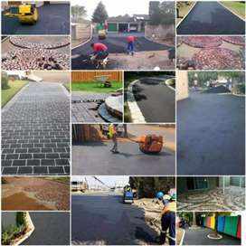 Tar surfaces and pavings.