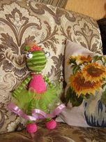 Лягушка-балерина, игрушка крючком 31 см Амигуруми, яркая