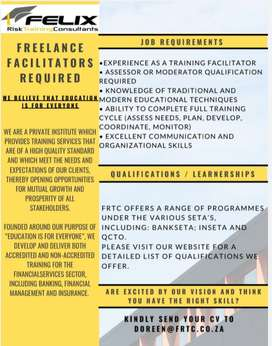 Freelance Facilitators required.