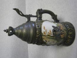 Kufel porcelanowy myśliwski , ręcznie malowany wys. ok. 25 cm.
