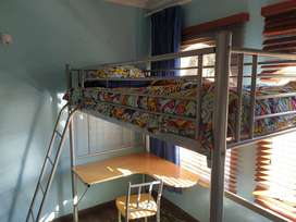 Kids Steel Loft Bed with Desk and Chair