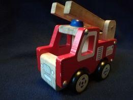 Straż pożarna auto edukacyjne drewniane jak nowe zabawka