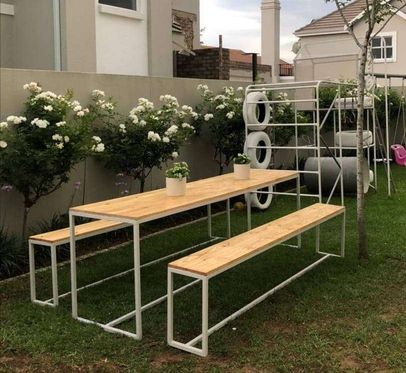 Steel and wood furniture for sale 0