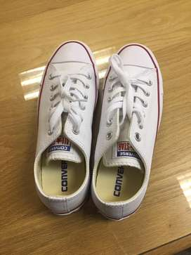 White Leather Converse UK 5 NEW