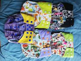 Bamboo cloth nappies for a girl x5