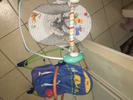 Fisher Price baby vibrating swing and Disney baby swing