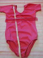 Спортивный купальник 9-10 лет, розовый, короткий рукав,бифлекс.