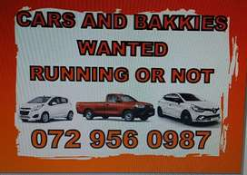 Cars and bakkies wanted in any condition.