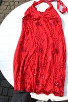 koronkowa sukienka elastyczna czerwona rozmiar 38