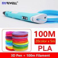 3D-ручка MYRIWELL RP-100B Blue + 100m (20 цветов) PLA пластика