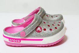Серебрянные кроксы детские оригинал. Все размеры Сабо Crocs блестящие