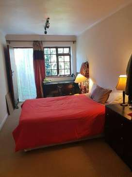 Garden flat with own entrance, secure garage for small car.