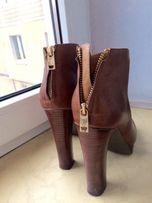 Ботинки осенние, удобные, коричневые ботинки, на каблуке, на платформе