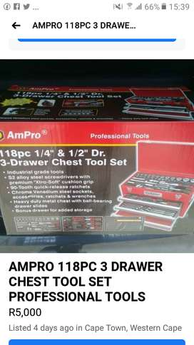 AMPRO 118PC TOOLBOX 3 DRAWER CHEST TOOL SET