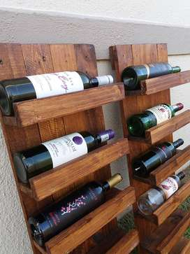 Handmade Wine Rack. Stained for a darker finish.