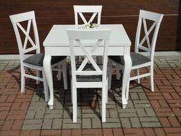 Stół prowansalski, biały, rozkładany+4 krzesła, nogi Ludwik, Vintage