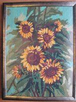 Картина Подсолнухи, вышито, ручная работа