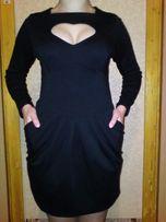 Чёрное удобное тёплое платье с длинным рукавом.