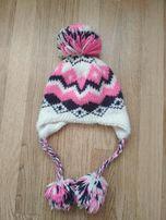 Фирменная польская шапка зима на 7-9 лет + подарок меховые наушники