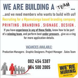 Production Managers, Graphic Designers, Project Managers, Sales Staff