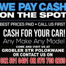 Need some cash we pay cash for your car or bakkie