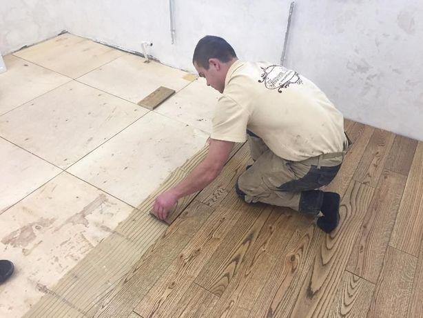 Циклювання шліфування паркету, ремонт реставрація старої підлоги дошки