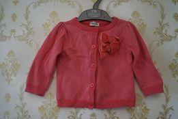 Красивая нарядная розовая с люрексом кофта кофточка на девочку бантом