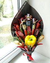 Съедобные букеты из фруктов, овощей, колбас(мужские, фруктовые букеты)
