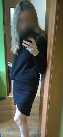 Komplet, bluza + spódniczka, czarne, rozm S, Nowe Sosnowiec - image 1