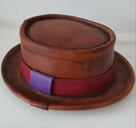 Leather Pork Pie Hat (Order today!)