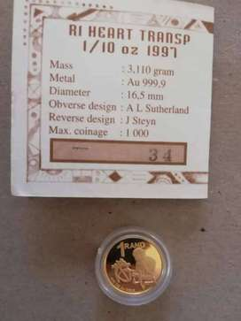 1 x 1997 Proof 24ct Gold Coin - 1/10 Ounces with COA