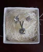Kolczyki srebrne kryształki świecące zawieszka