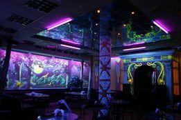 Роспись светящимися красками стен, потолков, фасадов, авто и др.