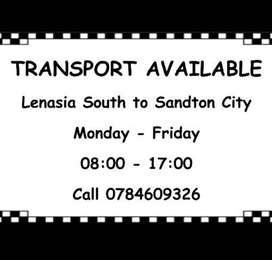 Transport available from Lenasia South to Sandton CBD
