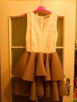 Sukienka rozkloszowana, biało-szara rozm.38, stan idealna, na wesele