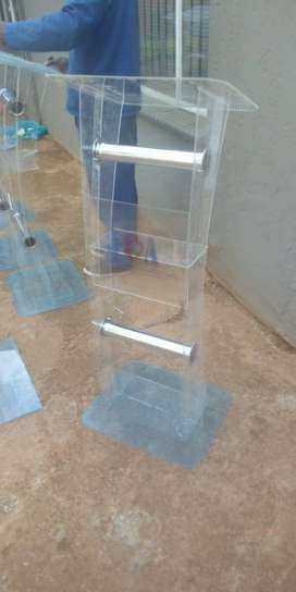C Shape Clear Leg Silver Tubes Podiums/ Lecterns