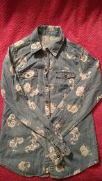 Jeansowa koszula w kwiaty