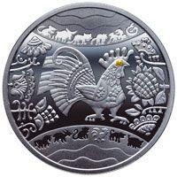 Серебрянная монета Год Петуха Рік Півня пол унции серебра 15,55 грамм