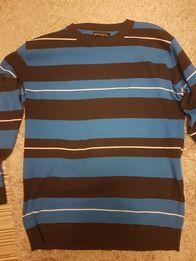 Swter męski w paski niebiesko-czarny