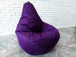 Бескаркасное кресло мешок груша фиолет XL Oxford. Мягкий пуфик, мебель