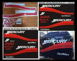 Mercury 200 outboard motor stickers decals vinyl cut graphics kits