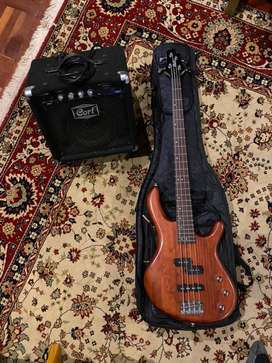 Cort 4 String Bass, Bag and Amp