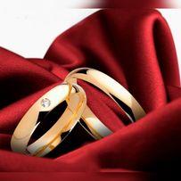 Prześliczna Para Złotych Obrączek Ślubnych Cyrkonia Wysoki Połysk