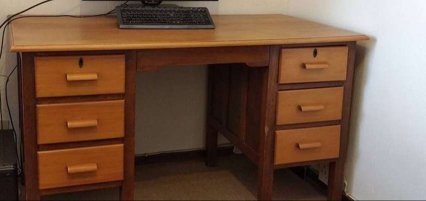 Wood desk with 6 drawers