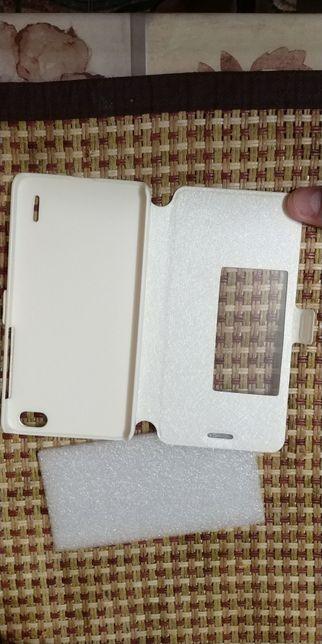Чехол кожанный белый для телефона Huawei Honor 6, Case Хуст - изображение 3