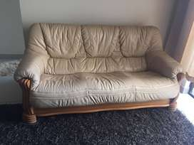Oak and leather 5 seater couches
